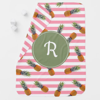 Girly Summer Pineapple Pattern | Pink Striped Baby Blanket