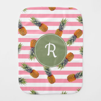 Girly Summer Pineapple Pattern | Pink Striped Burp Cloth