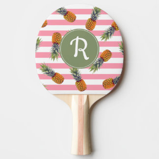 Girly Summer Pineapple Pattern | Pink Striped Ping Pong Paddle