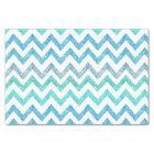 Girly Summer Sea Teal Turquoise Glitter Chevron Tissue Paper