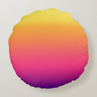 Girly Summer Tropical Gradient Abstract Sunset Round Pillow