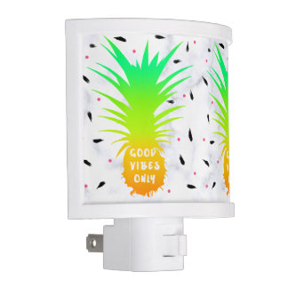 girly summer tropical pineapple white marble nite lites