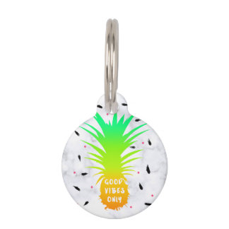 girly summer tropical pineapple white marble pet tag