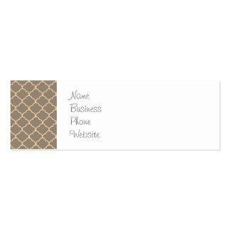 Girly Sweet Tan and Peach Elegant Pattern Mini Business Card