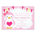 Girly Sweetheart Penguin Valentine Birthday Party Card