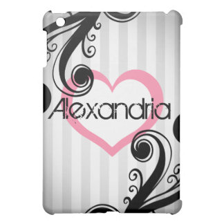 Girly swirls with pink heart iPad mini cover