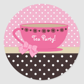 Girly Tea Party Pink And Brown Polka Dots Classic Round Sticker