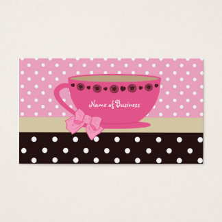 Girly Tea Shop Pink And Brown Polka Dots Teacup Business Card