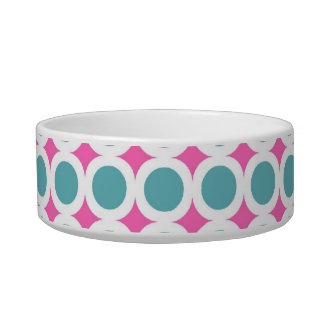 Girly Teal Blue Circles with Hot Pink Cat Bowl