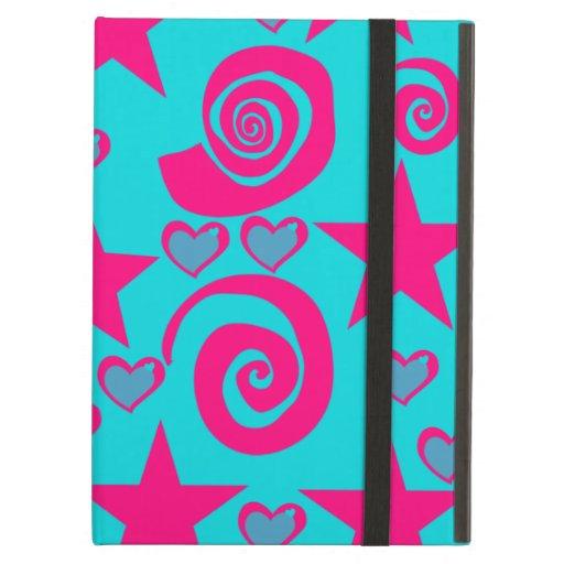 Girly Teal Blue Hot Pink Stars Hearts Swirls iPad Case