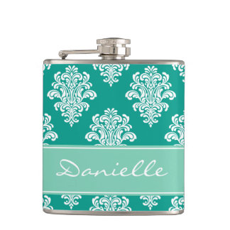 Girly Teal Damask Monogram Hip Flask