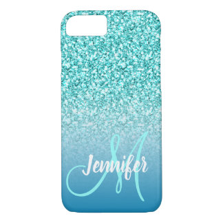 Girly Teal Faux Glitter Chic Script Monogram Name iPhone 8/7 Case