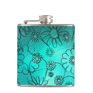 Girly Teal Flower Design Hip Flask