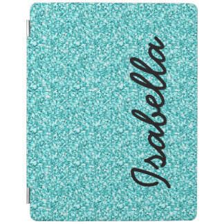 GIRLY TEAL GLITTER PRINTED PERSONALIZED iPad COVER