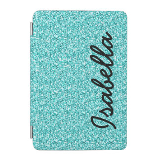 GIRLY TEAL GLITTER PRINTED PERSONALIZED iPad MINI COVER