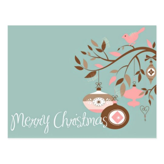Girly Teal, Pink & Brown Merry Christmas Postcard