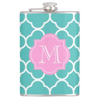 Girly Teal Quatrefoil Custom Pink Monogram Flask