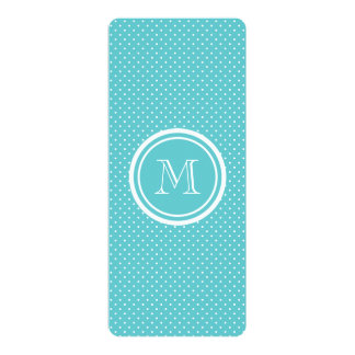"""Girly Teal White Polka Dots, Your Monogram Initial 4"""" X 9.25"""" Invitation Card"""