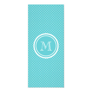 "Girly Teal White Polka Dots, Your Monogram Initial 4"" X 9.25"" Invitation Card"