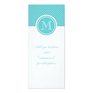 Girly Teal White Polka Dots, Your Monogram Initial Personalized Invitation