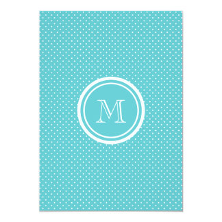 "Girly Teal White Polka Dots, Your Monogram Initial 5"" X 7"" Invitation Card"