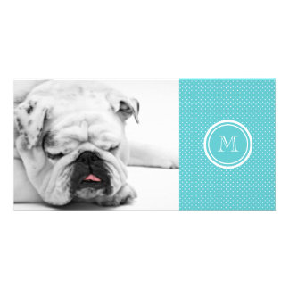 Girly Teal White Polka Dots Your Monogram Initial Custom Photo Card