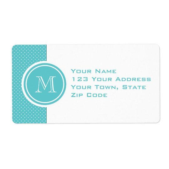 Girly Teal White Polka Dots, Your Monogram Initial Shipping Label