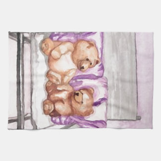 Girly Teddy Bear Talk Purple Lilac Grey Lavender Kitchen Towel