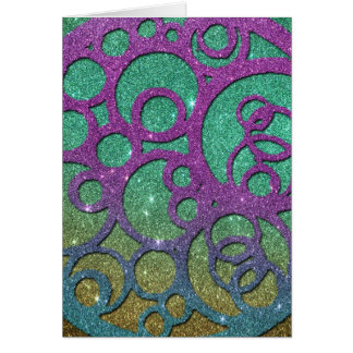 Girly Trendy Faux Glitter Circles Card