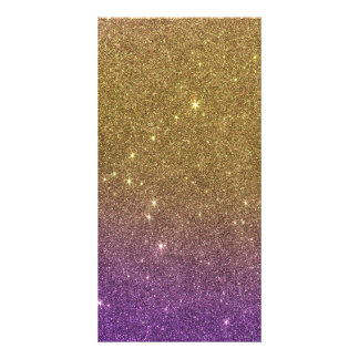 Girly Trendy Faux Gradient Glitter Customized Photo Card