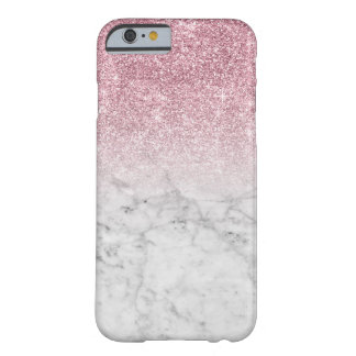 Girly Trendy Faux Pink Glitter Marble Barely There iPhone 6 Case