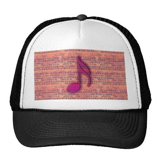 Girly Trendy Musical Note on Sheet Music Trucker Hat