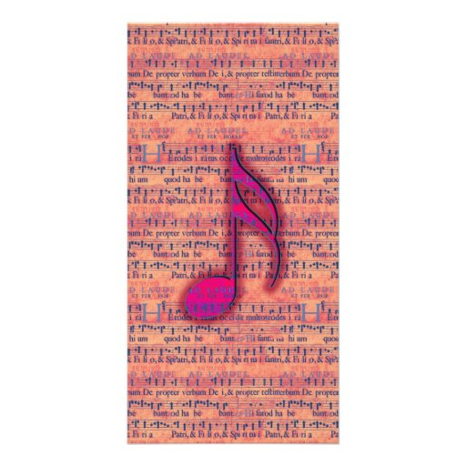 Girly Trendy Musical Note on Sheet Music Personalized Photo Card