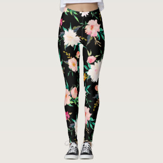 Girly Trendy Pink Black White Floral Watercolor Leggings