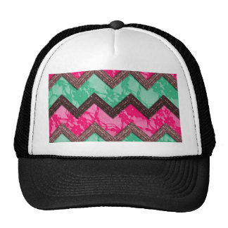 Girly Trendy Pink green zig zag lace Mesh Hat