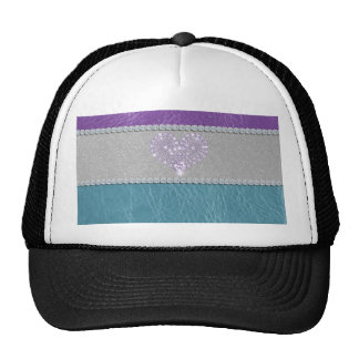 Girly trendy turquoise and purple leather diamond trucker hats