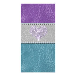 Girly trendy turquoise and purple leather diamond picture card