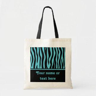Girly turquoise blue and black zebra stripes
