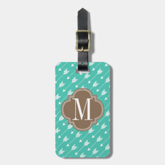 Girly Turquoise & brown Tribal Arrows Custom Luggage Tag