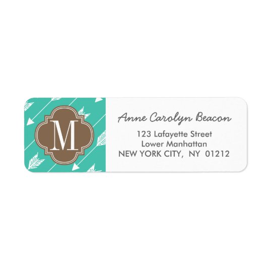 Girly Turquoise & brown Tribal Arrows Custom Return Address Label