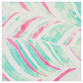 Girly Turquoise Pink Watercolor hand drawn pattern Fabric