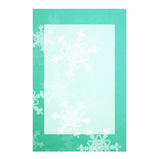 Girly turquoise white Christmas snowflakes Customized Stationery