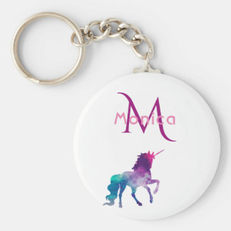 Girly unicorn in purple pink on white monogrammed keychain