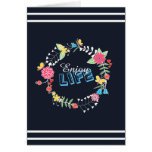 "girly vibrant floral circle ""Enjoy Life"" words Greeting Card"