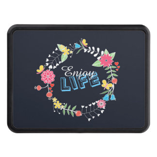 "girly vibrant floral circle ""Enjoy Life"" words Hitch Covers"