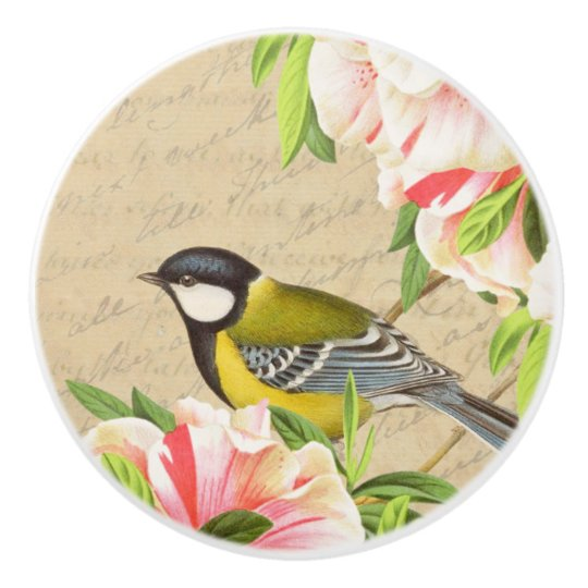 Girly vintage bird and flower ceramic knob
