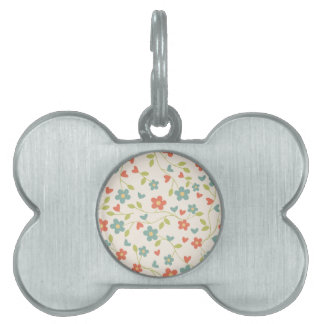Girly Vintage blue-orange floral. Hippie Pet Tag