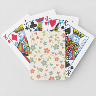 Girly Vintage blue-orange floral. Hippie Poker Deck