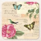 Girly vintage coaster w/ bird, butterflies & rose