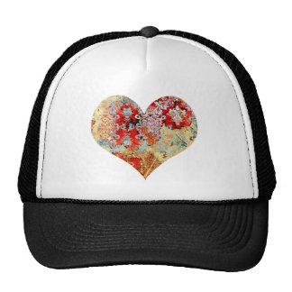 Girly Vintage floral damask heart Trucker Hat
